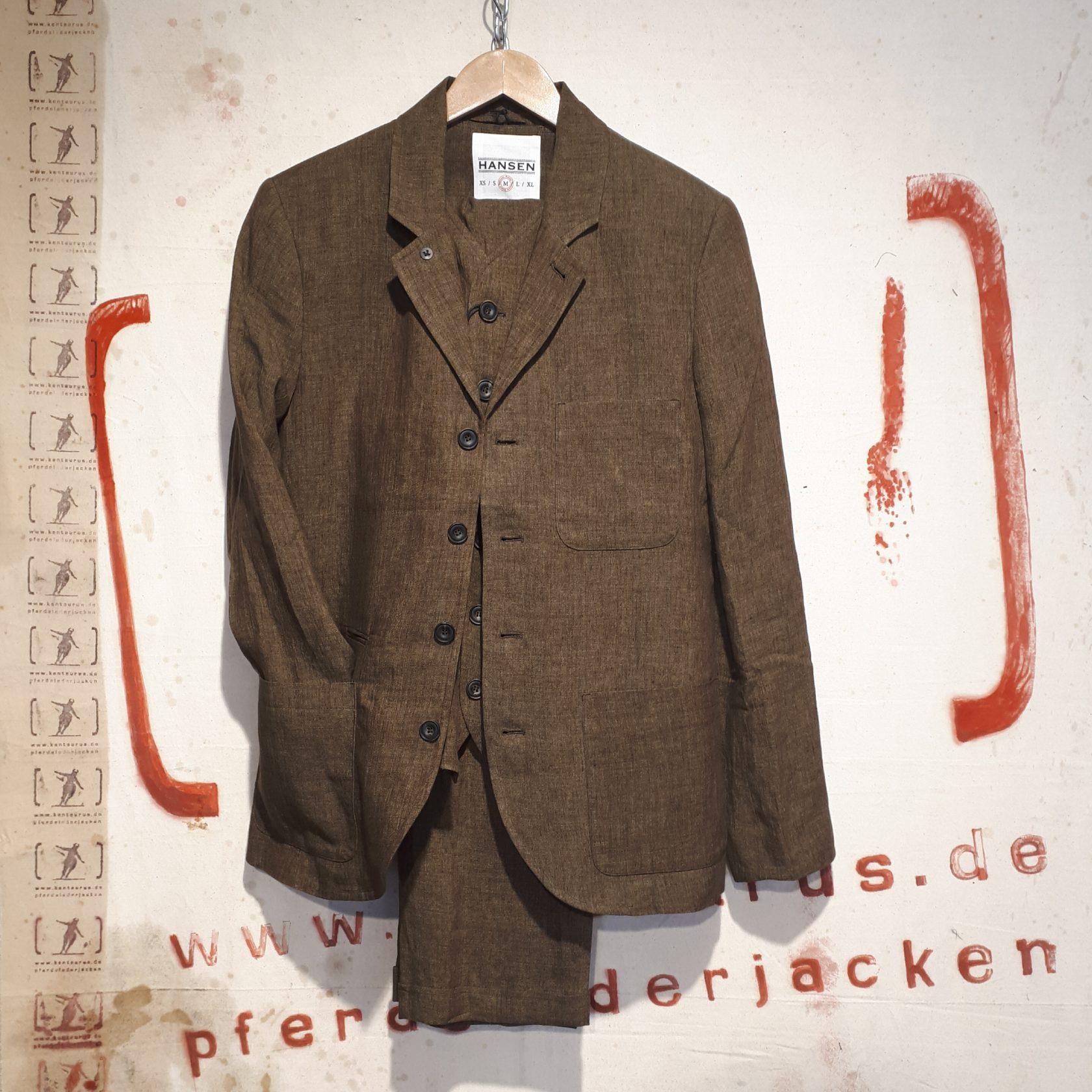 Hansen 3 piece linen suit, seaweed