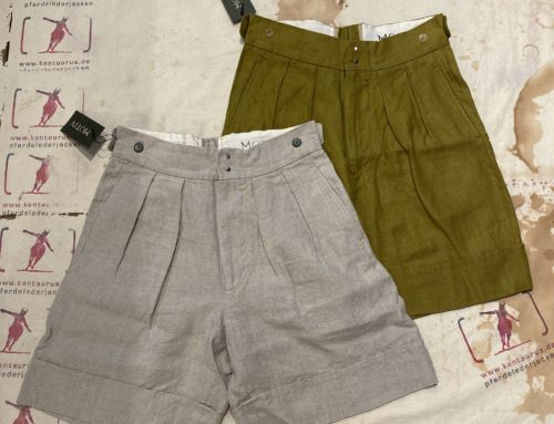 MotivMfg linen shorts nature and yellow