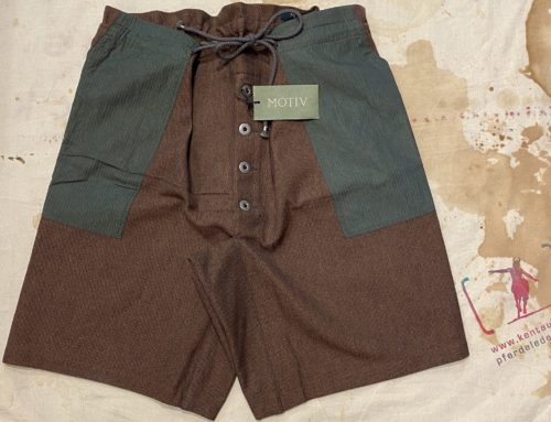 MotivMfg green and brown cotton shorts