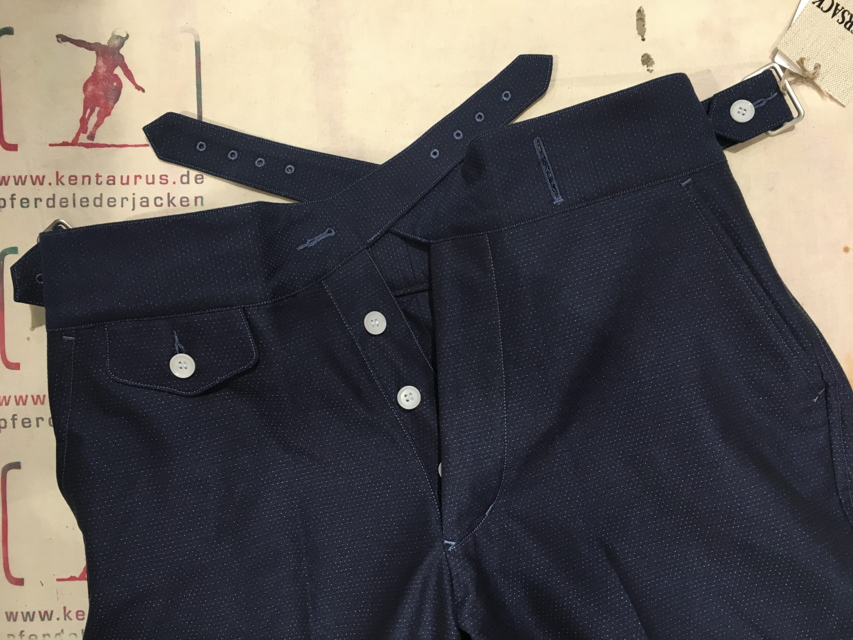 Haversack cotton pants navy dotted