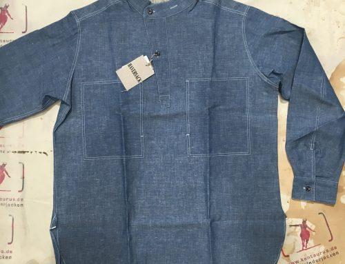 Haversack shirt cotton/linen blue