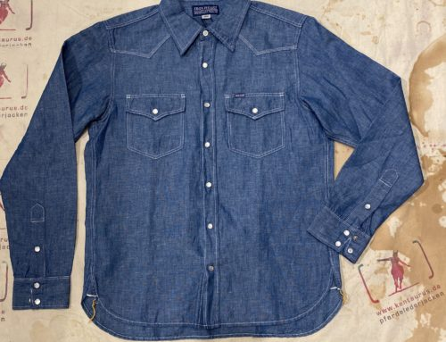 Iron Heart 5oz selvedge cotton linen chambray western shirt indigo