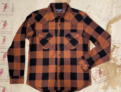 Iron Heart IHSH- 247- RED 9oz selvedge flannel check western shirt red/dark indigo