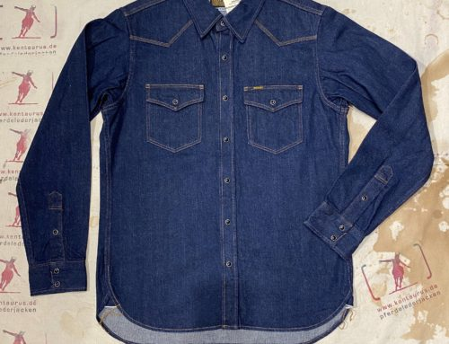 Iron Heart IHSH-246-NIN 12oz selvedge denim western shirt natural indigo