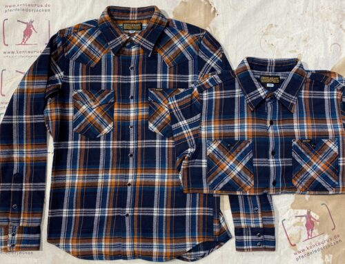 Iron Heart IHSH- 262 and IHSH- 263 ultra heavy flannel crazy western and work shirt navy