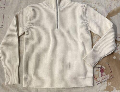 Andersen&Andersen navy half zip pullover off white