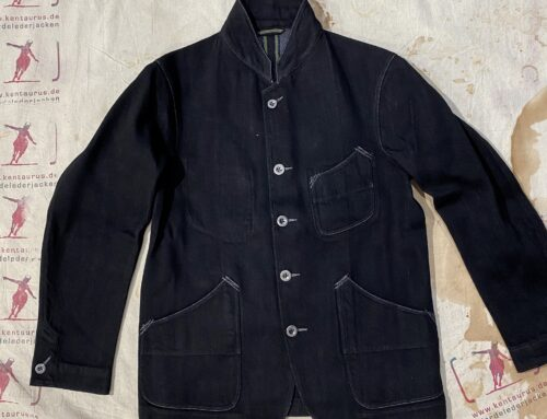Motivmfg black denim notch lapel lounge jacket
