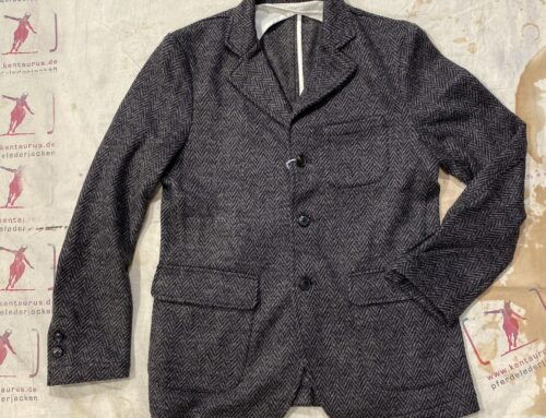 First Pat-rn evans jacket herringbone wool knit brown