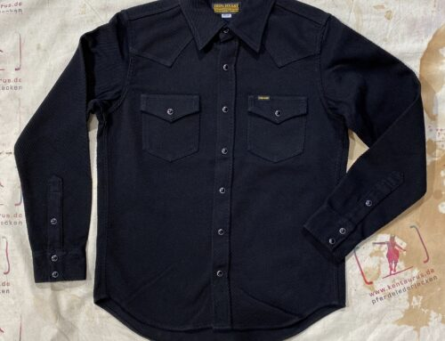 Iron Heart IHSH-234-BLK heavy kersey western shirt black