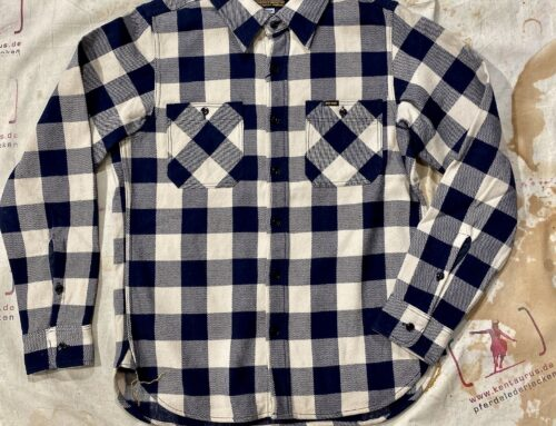 Iron heart IHSH-258 NIV buffalo check ultra heavy flannel work shirt navy/ivory