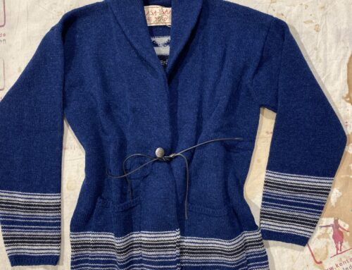 G.R.P. damen shawl collar cardigan blue/ecru