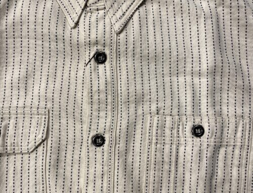 Momotaro stitch stripe shirt white