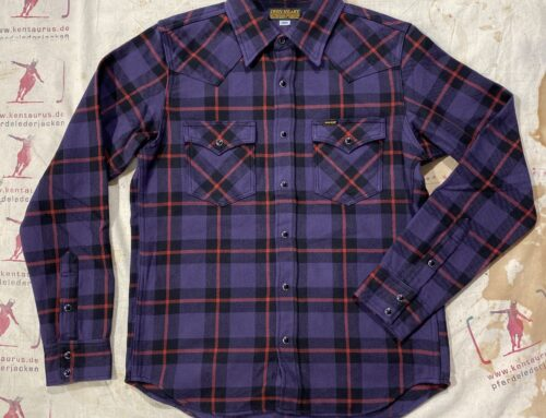 Iron Heart IHSH-260PPL ultra heavy flannel western shirt purple check