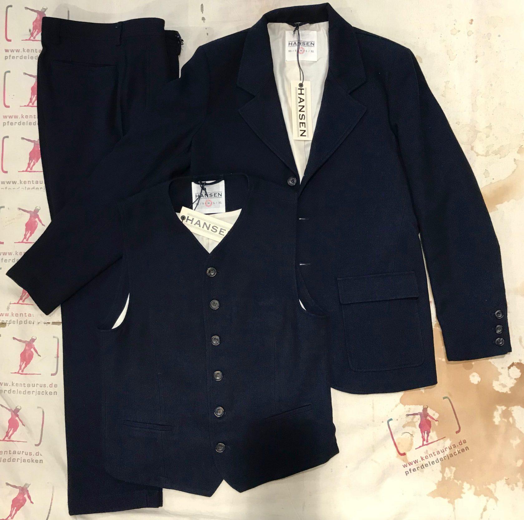 Hansen 3 piece wool/cotton suit deep indigo AW18