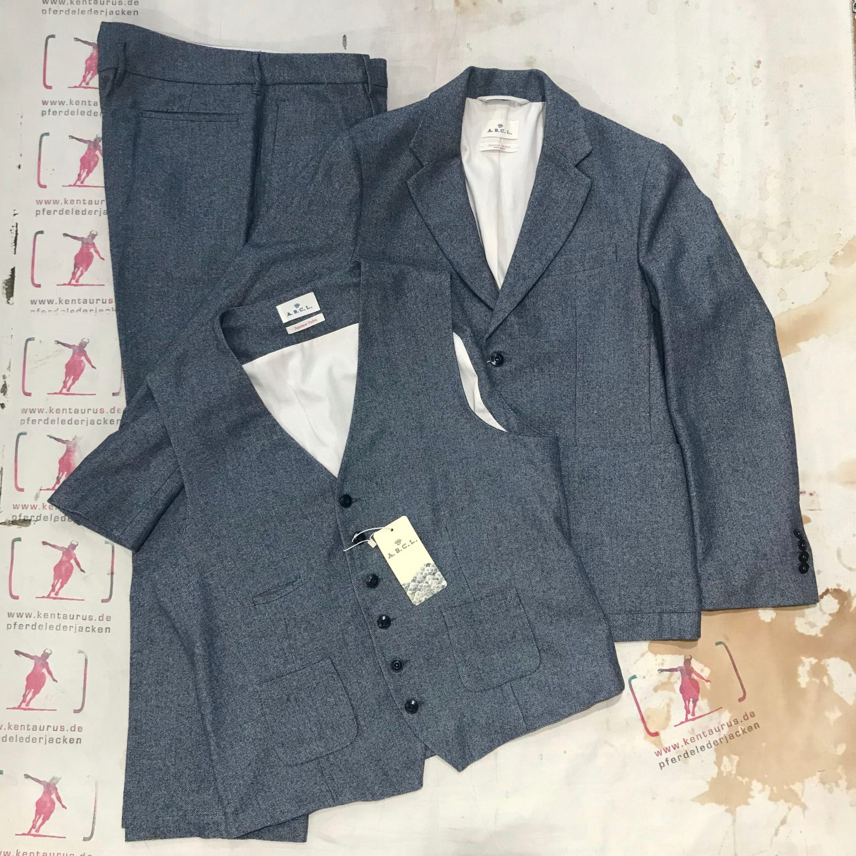 A.B.C.L. Japan 3 piece suit grey herringbone