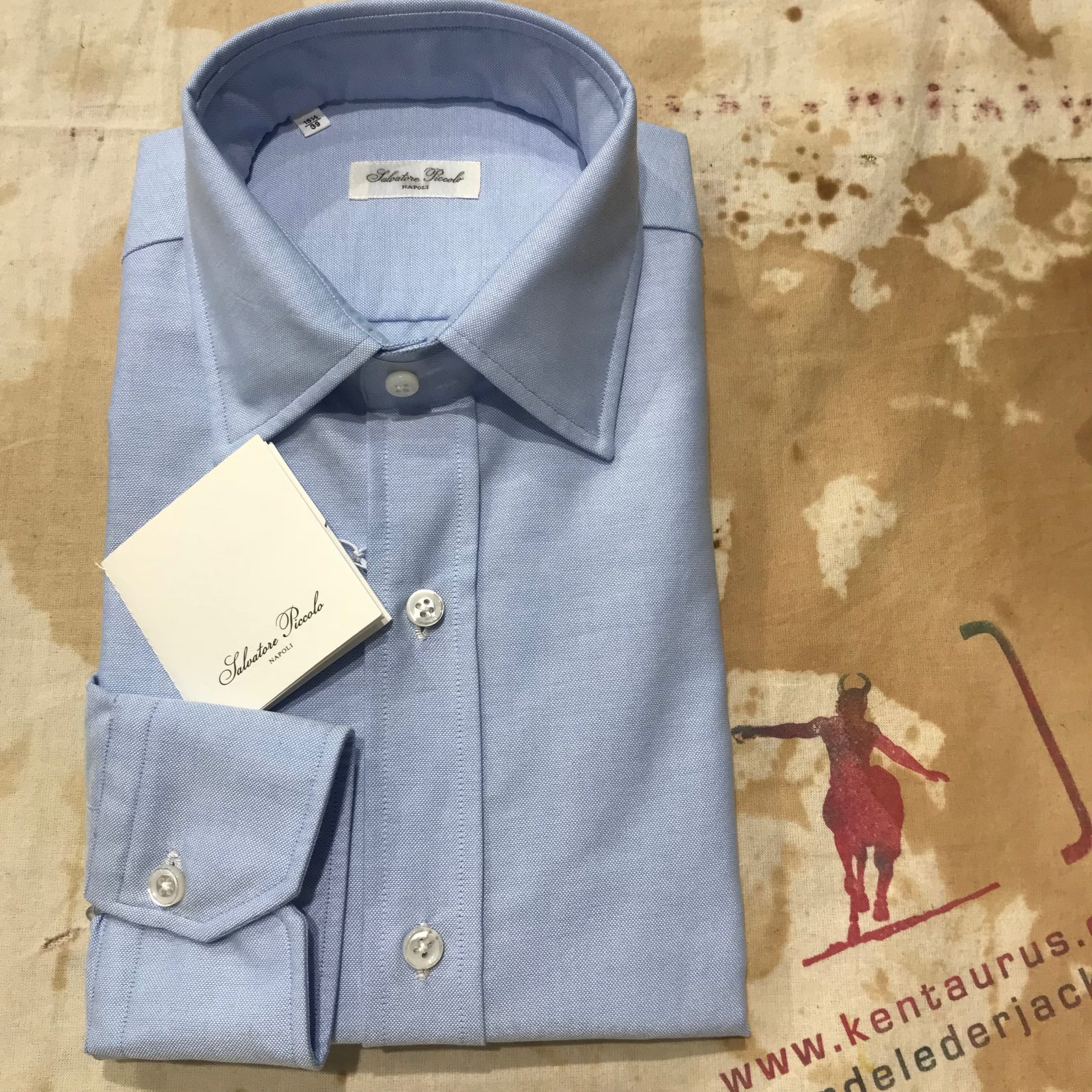 S.Piccolo plain blue oxford shirt