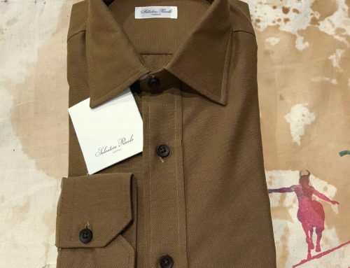 S.Piccolo plain olive-brown oxford R-LS/TF22