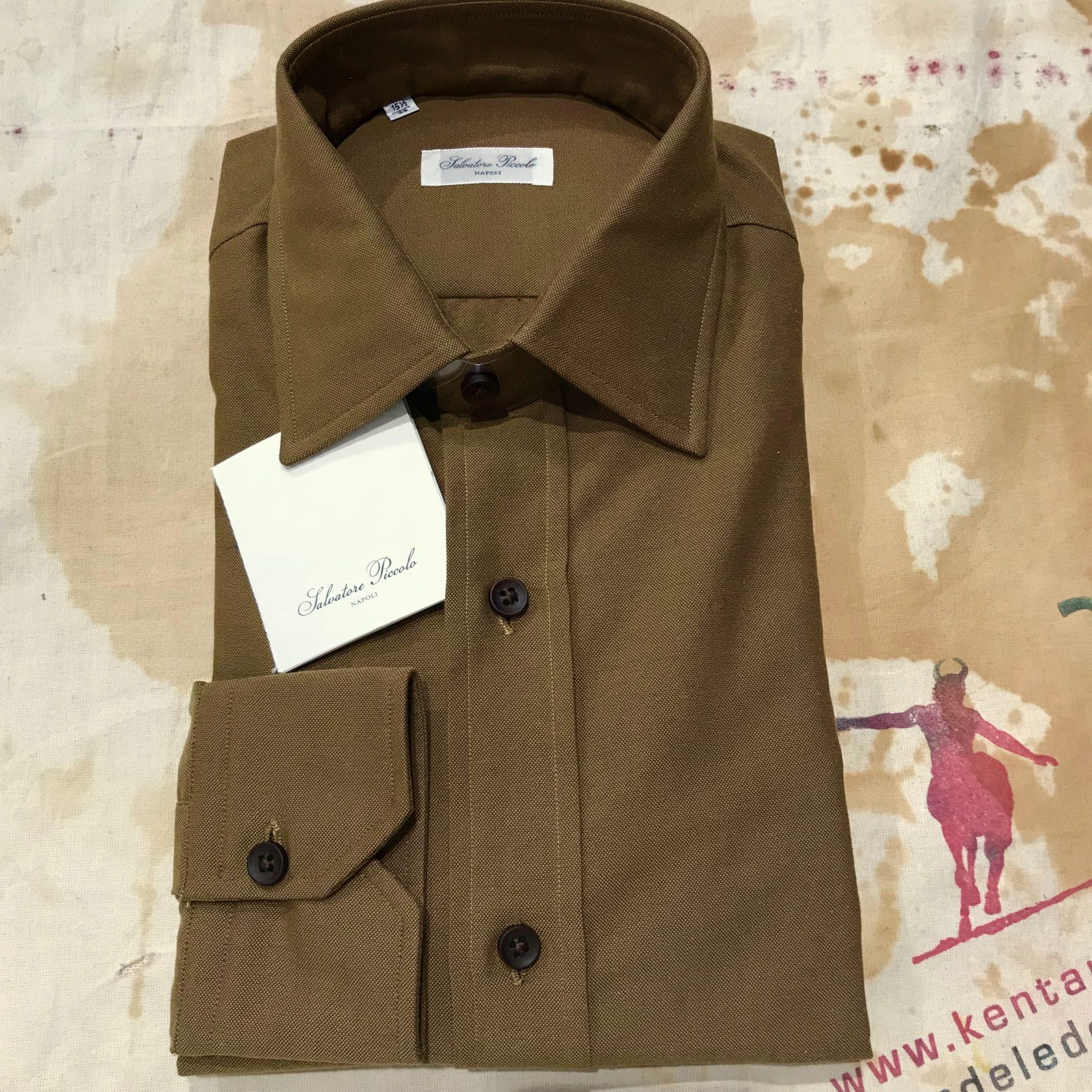 S.Piccolo plain olive-brown oxford shirt
