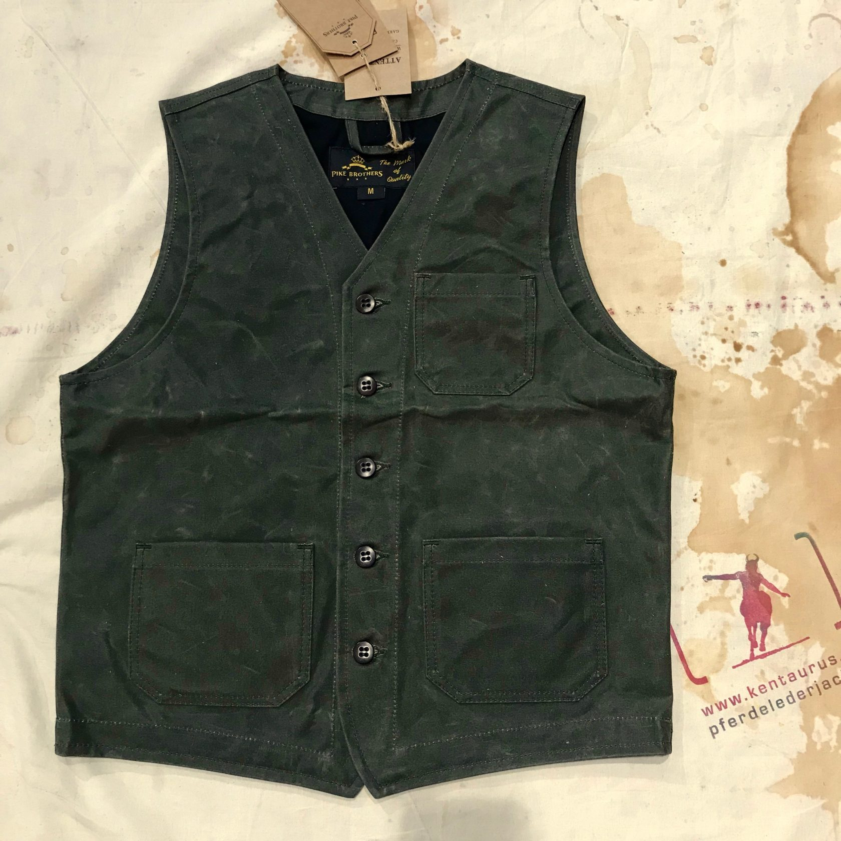 Pike Brothers olive waxed cotton vest