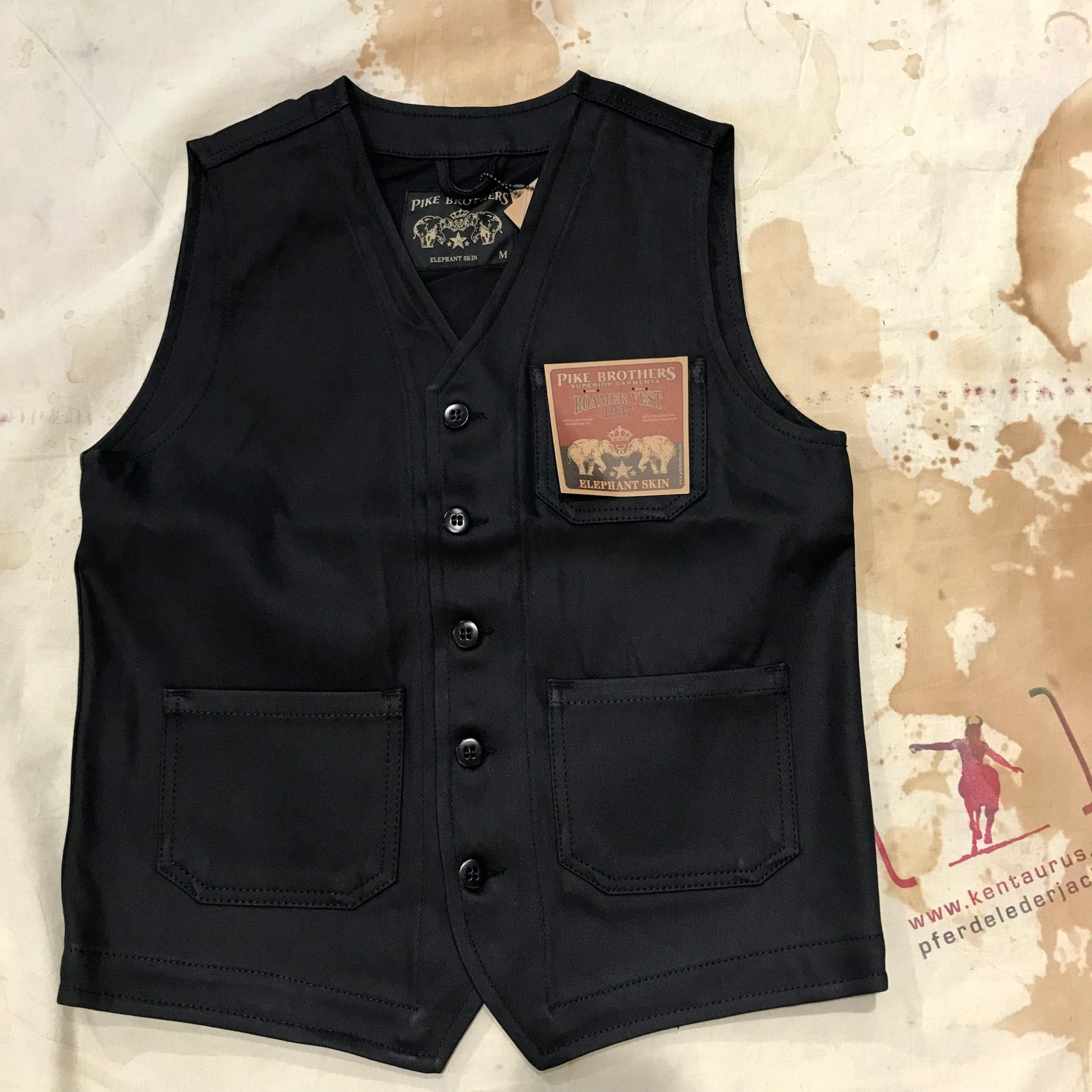Pike Brothers black elephant skin roamer vest