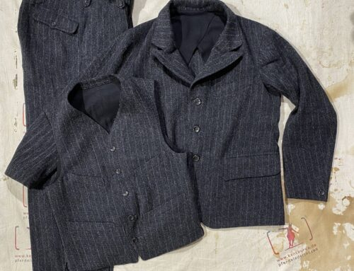 MotivMfg  3 piece suit distressed Lovat Tweed black chalk stripe