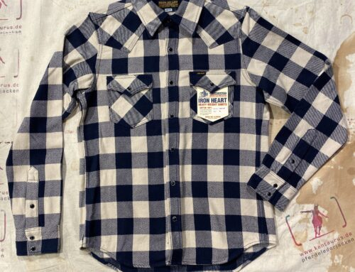 Iron Heart IHSH-267-NAV ultra heavy flannel buffalo check western shirt navy/ivory