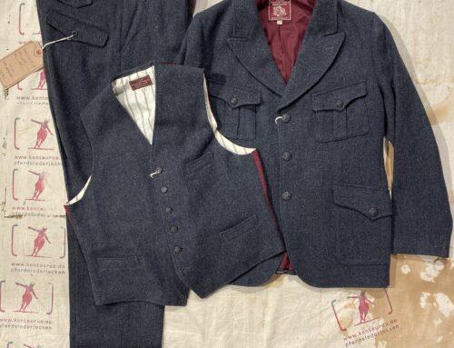Adjustable Costume vintage tweed 3 piece suit charcoal