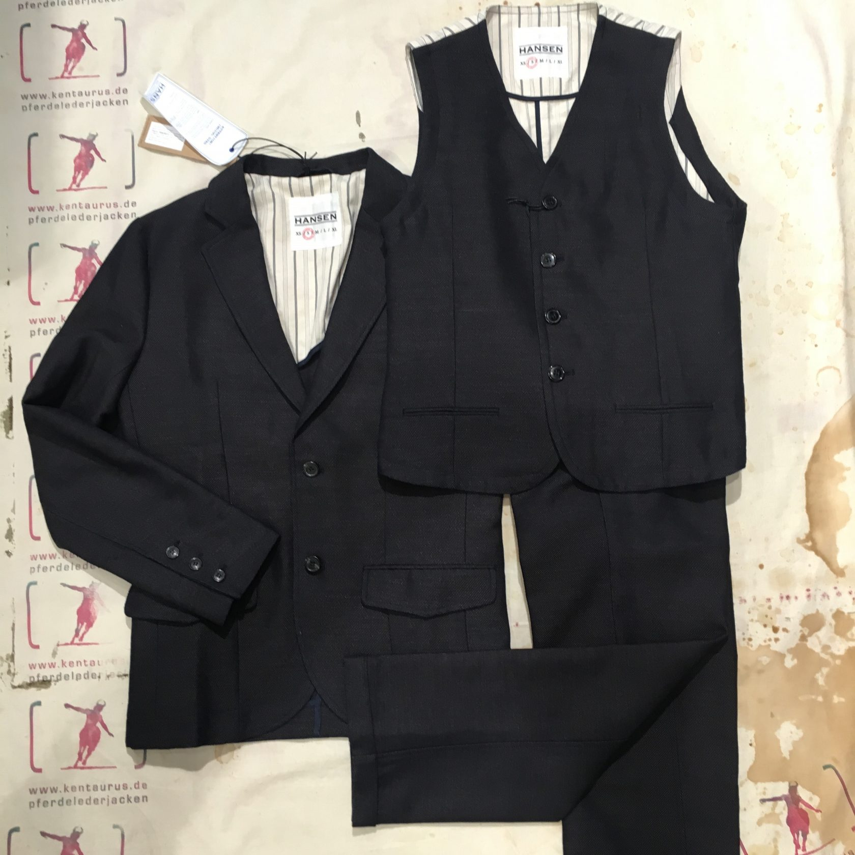Hansen 3piece wool /cotton suit indigo