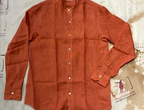 Salvatore Piccolo red stand collar linen RA-CA/SD
