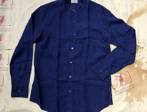 S. Piccolo blue stand collar linen R-CA/SD