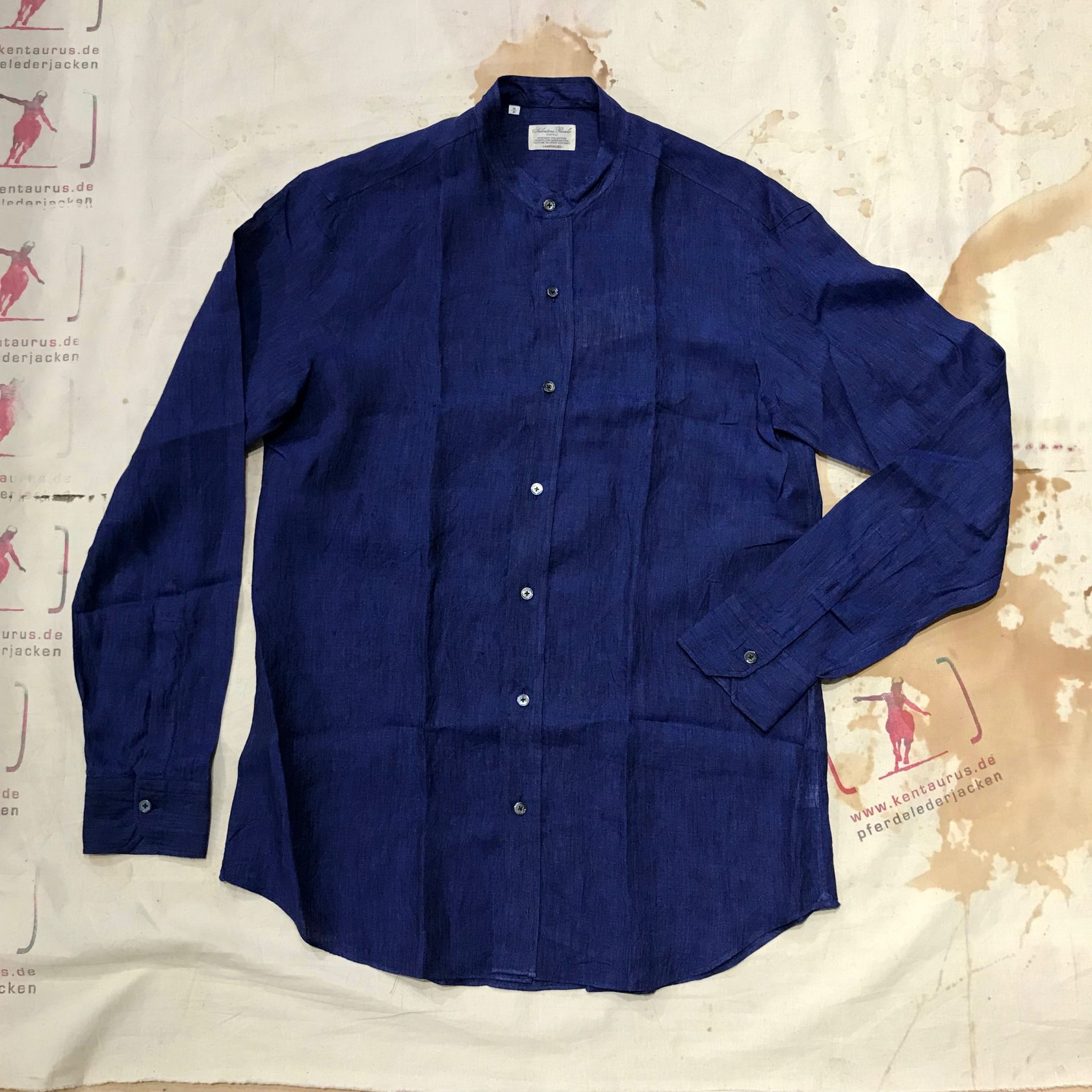 S. Piccolo blue stand collar linen shirt