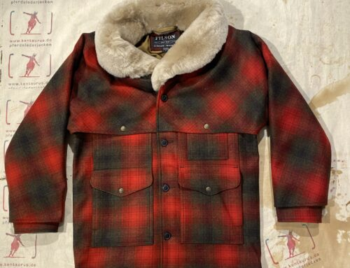 Filson lined wool packer coat red/green/brown