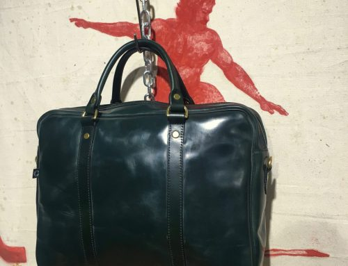 Croots malton bridle leather laptop bag racing green