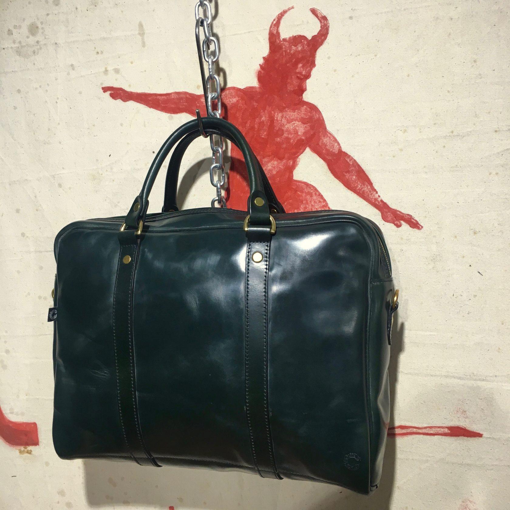 Croots malton bridle leather laptop bag racing green