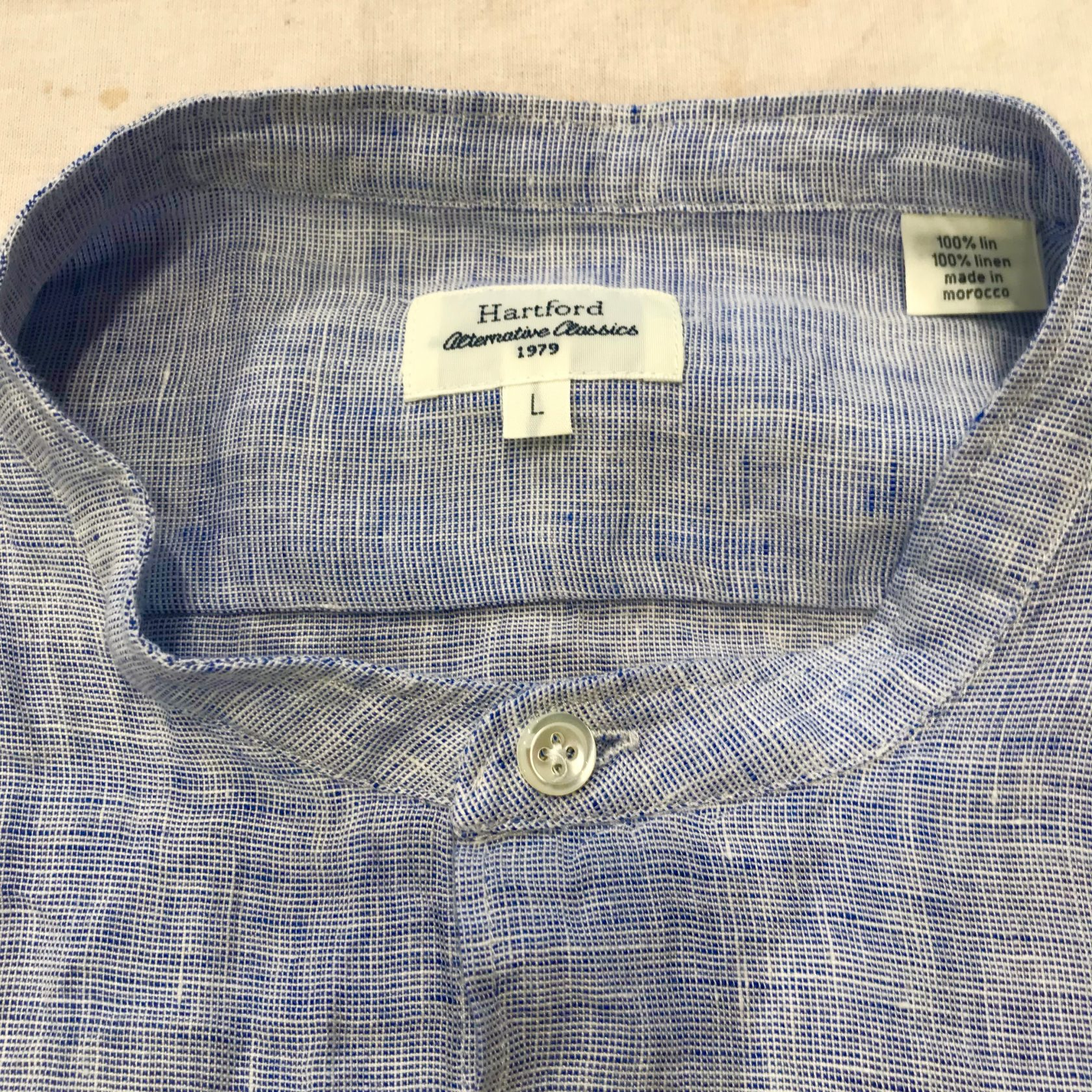 Hartford linen stand collar shirt