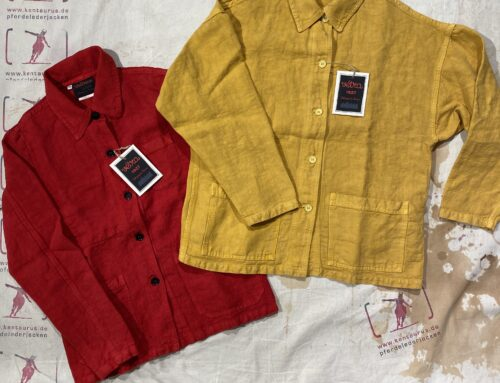 Vetra women`s poppy jacket red and yellow linen