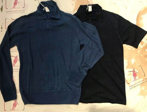 G.R.P. polo linen shirts blue and dark blue