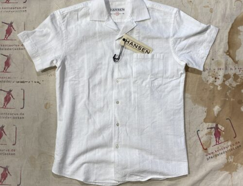 Hansen  johnny short sleeve shirt dobby weave japanese cotton white
