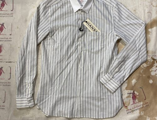 Hansen haakon white collar striped shirt jacquard