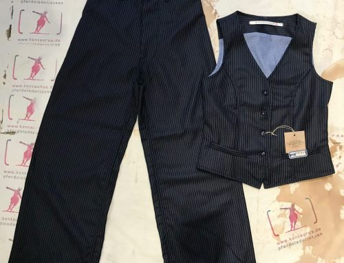 Scartilab wide wool pant and vest striped