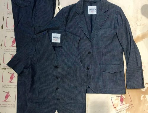 Hansen 3 piece suit indigo striped
