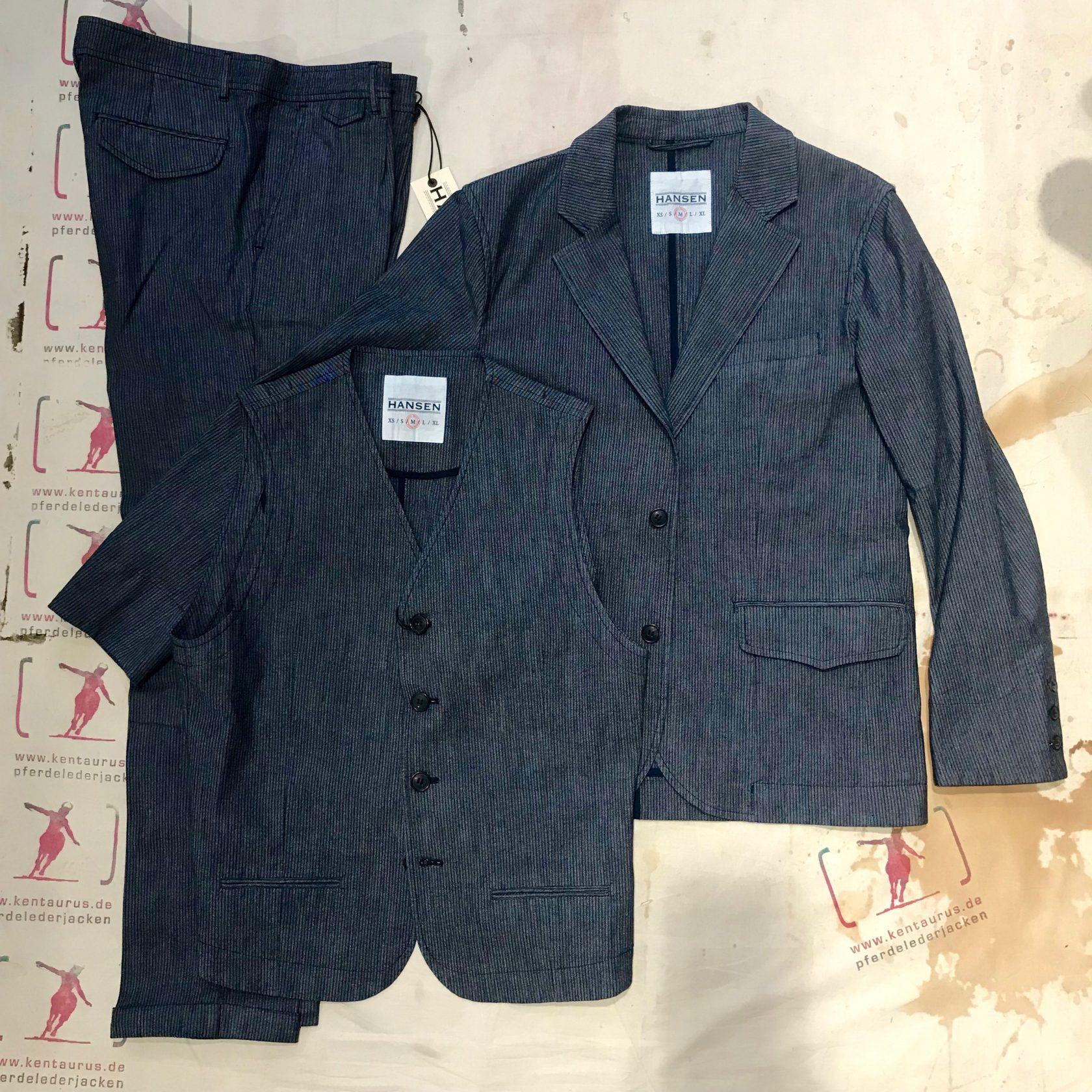 Hansen 3 piece suit indigo striped
