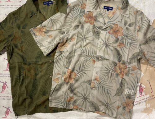 Fleurs de Bagne hawaii shirts khaki und beige