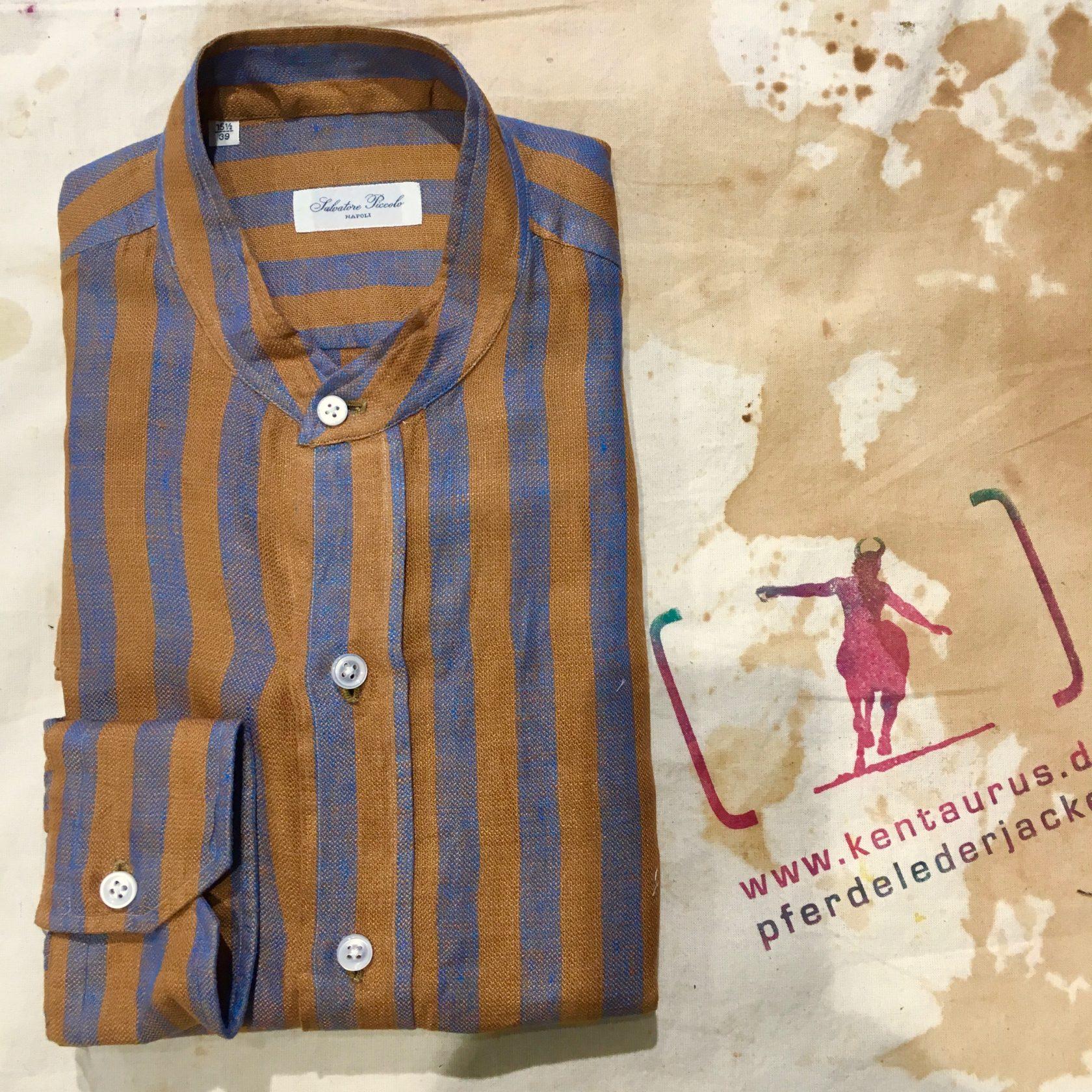 Salvatore Piccolo striped linen shirt ocker SS17