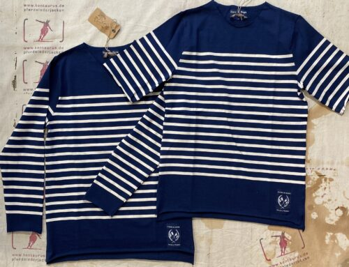"""Fleurs de Bagne Le Tricot Manches Longues & Courtes Le Mariniere """"Toulon"""" Navy/Naturel Stripes"""