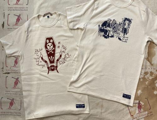"""Fleurs de Bagne Le Tricot """"Pas De Chance"""" & """"Quand La Nuit Tombe"""" T-Shirts Ecru"""