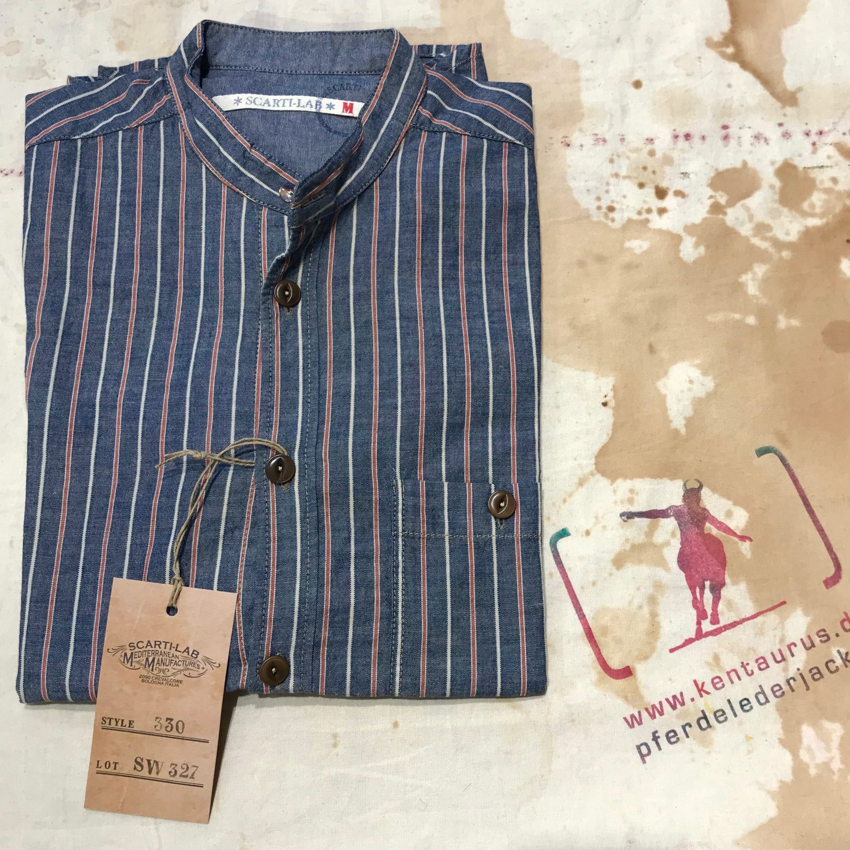 Scartilab blue striped stand collar shirt
