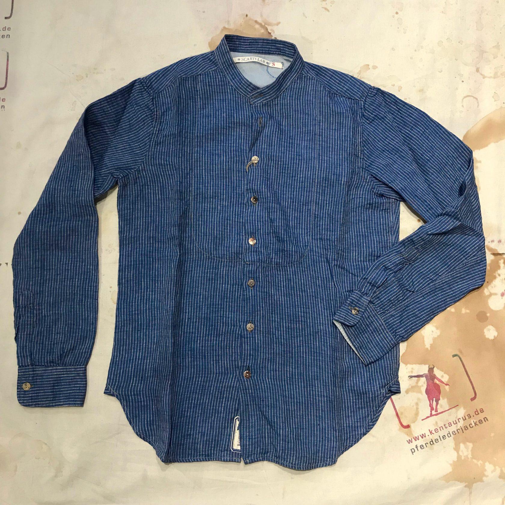 Scartilab 100% linen stand collar shirt