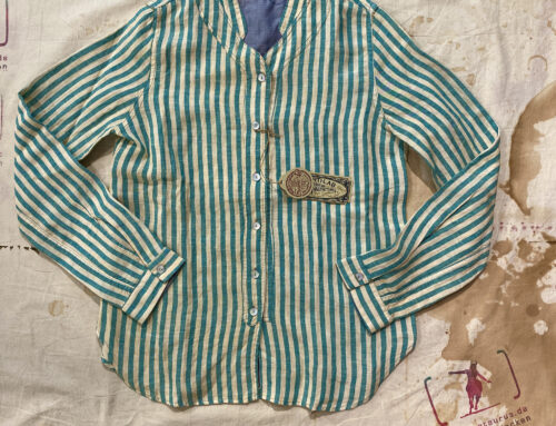 Scartilab W503SV382 Linen Shirt Green Stripe