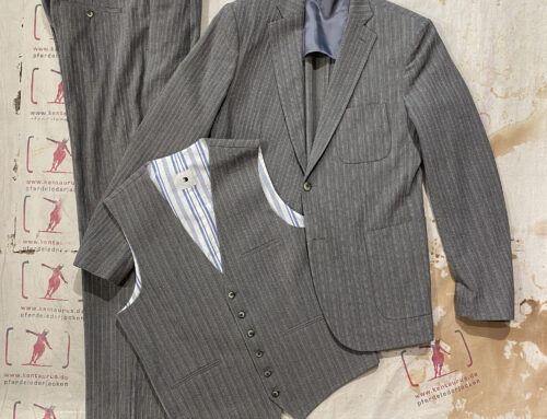 Delikatessen 3 piece suit  herringbone italian crepe cotton grey